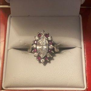 Sterling Silver garnet end CZ stone vintage ring